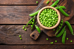 Fresh green peas. In bowl stock photos