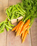 Fresh green peas and carrots Stock Photography
