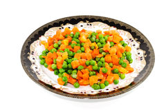 Fresh Green Peas with Carrots Stock Images