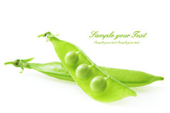 Fresh green peas isolated on a white background Royalty Free Stock Images