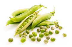 Fresh green peas. Isolated on white background Royalty Free Stock Image