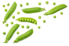 Fresh green peas isolated on a white background. top view stock photography