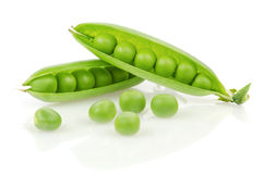 Fresh Green Peas. Pea Pod with Peas  on White Background Royalty Free Stock Images