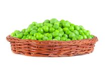 Fresh green peas in the pod isolated on white background.  Royalty Free Stock Image