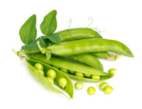 Fresh green peas in the pod. Green peas in the pod isolated on white background Stock Photos