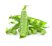 Fresh green peas pods isolated on white Stock Photography