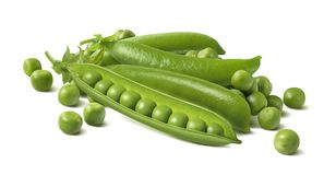 Fresh green peas in pods and separate beans Royalty Free Stock Photos