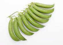 Fresh green peas pods  . Fresh green peas pods on a white background Stock Images