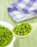 Fresh Green Peas on a Spoon Royalty Free Stock Image