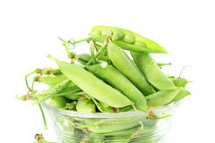 Fresh green peas vegetable in white background Royalty Free Stock Photo