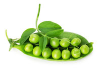 Fresh green peas on the white background Stock Photography