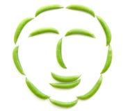 Fresh green peas on white background. Fresh green peas isolated and white background stock image