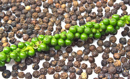 Fresh green peper on heap of Black Pepper Stock Photography