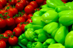 Fresh Green Pepper and tomatos. Fresh Green Pepper at supermarket Stock Images