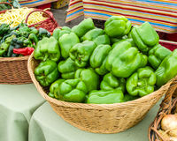 Fresh green peppers in a basket Royalty Free Stock Image