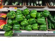 Fresh Green Peppers for sale in a produce department of a grocery store royalty free stock photo