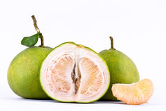 Fresh green pomelos peeled on white background healthy fruit food isolated Royalty Free Stock Image
