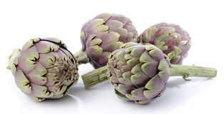 Fresh green purple artichokes Royalty Free Stock Photo