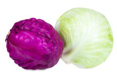 Fresh green and purple cabbage Royalty Free Stock Images