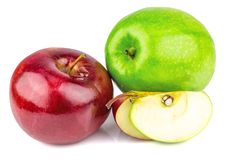 Fresh green and red apples. With drops isolated on white background Stock Photos