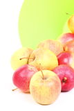 Fresh green, red apples in basket isolated Royalty Free Stock Image