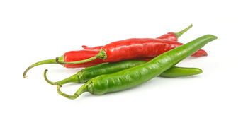 Fresh green and red chili on white background Stock Photo
