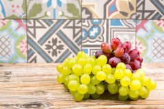 Fresh green and red grape Stock Images
