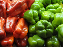 Fresh green and red peppers Stock Photos