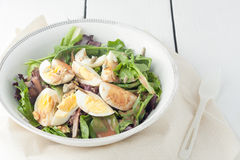 Fresh green salad with boiled eggs Stock Photography