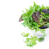 Fresh green salad in a bowl, close-up, isolated Stock Photo