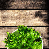 Fresh green salad in a bowl on  wooden background - Lettuce Sala Royalty Free Stock Images