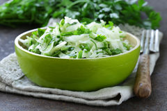 Fresh green salad with cabbage (coleslaw), cucumber and parsley Stock Photography