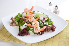 Fresh green salad with grilled shrimps Stock Photo