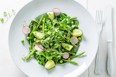 Fresh green salad with mix of vegetables. On white table Royalty Free Stock Photo
