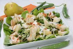 Fresh green salad with pear Stock Photography