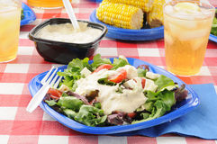 Fresh green salad on a picnic table Royalty Free Stock Images
