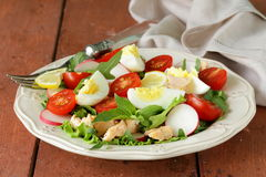 Fresh green salad with salmon Stock Images