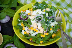 Fresh green salad with sorrel. Cucumber and eggs, greek yogurt and  olive oil Stock Photography