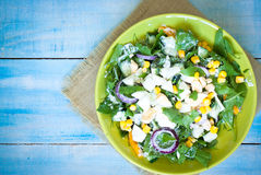 Fresh green salad with sorrel. Cucumber and eggs, greek yogurt and olive oil stock photo
