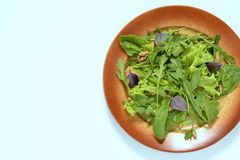 Fresh green salad with spinach, arugula, lettuce, herbs and nuts Stock Image