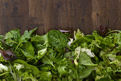 Fresh green salad with spinach,arugula and lettuce Stock Photos