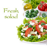 Fresh green salad with vegetables and feta and ingredients Royalty Free Stock Photos