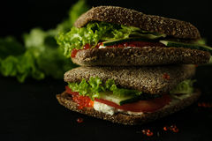 Fresh green sandwich with caviar and cream cheese selective focus dark photo Royalty Free Stock Photography