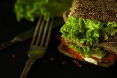 Fresh green sandwich with caviar and cream cheese selective focus dark photo Royalty Free Stock Photos