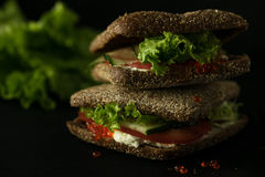 Fresh green sandwich with caviar and cream cheese selective focus dark Stock Photography