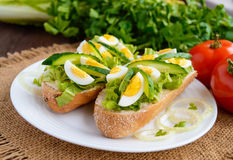 Fresh green sandwich with fresh cucumber, Chinese cabbage, quail egg. Dietary and vegetarian dishes Royalty Free Stock Images