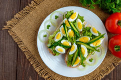 Fresh green sandwich with fresh cucumber, Chinese cabbage, quail egg. Dietary and vegetarian dishes. The top view Stock Images