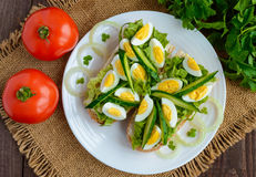 Fresh green sandwich with fresh cucumber, Chinese cabbage, quail egg. Dietary and vegetarian dishes. The top view Stock Photo