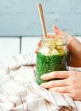 Fresh green smoothie with apples, pears, spinach and spirulina Royalty Free Stock Photos