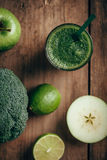 Fresh green smoothie from fruit and vegetables, healthy eating, selective focus Royalty Free Stock Photography